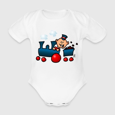 Train - Organic Short-sleeved Baby Bodysuit