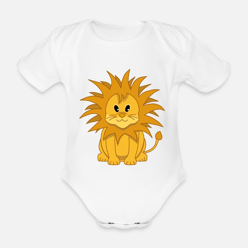 Lion Baby Clothing - Cute Cartoon Lion Cub - Short-Sleeved Baby Bodysuit white