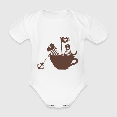 Piraten in Tasse - Baby Bio-Kurzarm-Body