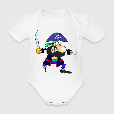 pirate ship boat pirate pirate ship ship skull9 - Organic Short-sleeved Baby Bodysuit