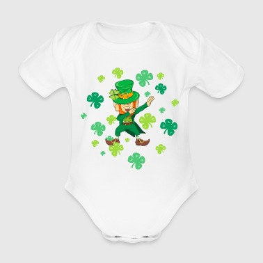 St Patricks Day - Dabbing Leprechaun - Shamrock - Organic Short-sleeved Baby Bodysuit