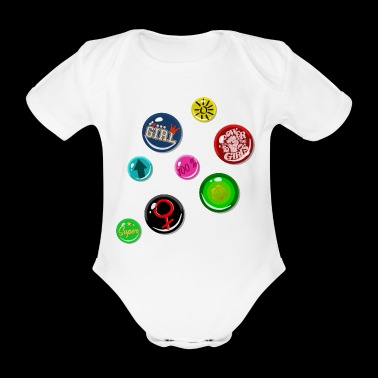 Pin Fake Buttons Girl Girl Power - Baby bio-rompertje met korte mouwen