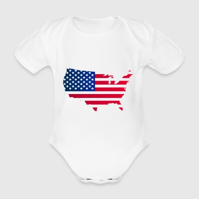 United States map - Organic Short-sleeved Baby Bodysuit