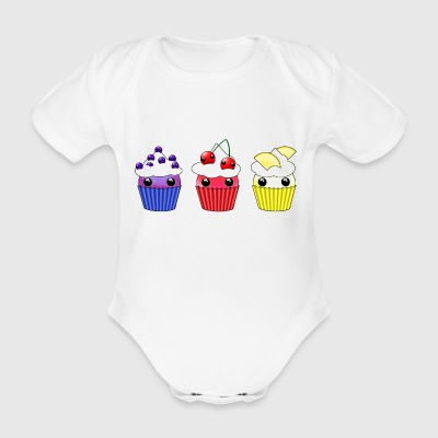 Three kawaii cupcakes blueberry cherry lemon - Organic Short-sleeved Baby Bodysuit