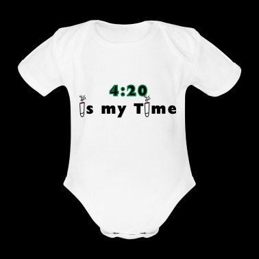 420 is my time grass cannabis gift idea - Organic Short-sleeved Baby Bodysuit