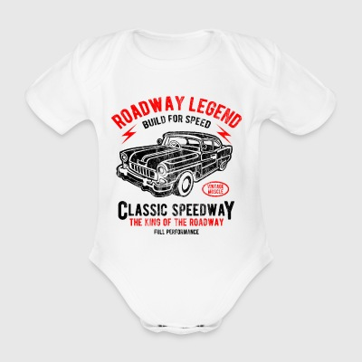 CLASSIC SPEEDWAY - Retro Car and shirt design auto - Body ecologico per neonato a manica corta