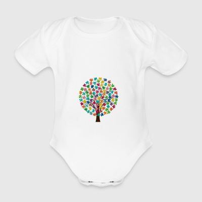 Puzzle tree - Organic Short-sleeved Baby Bodysuit
