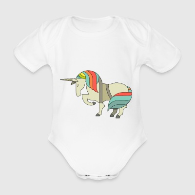 unicorn einhorn horse pferd elfe elf fairy fee - Baby Bio-Kurzarm-Body