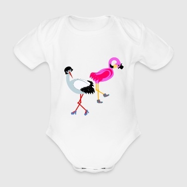 Stork and flamingo - Organic Short-sleeved Baby Bodysuit