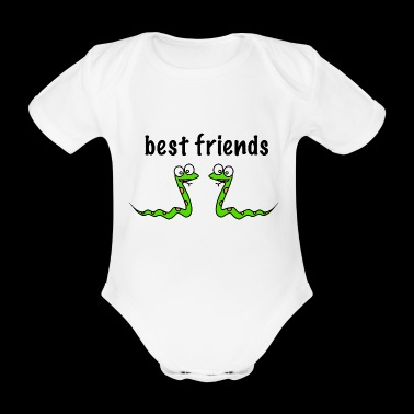 Snake friends kids gift idea buddy animals - Organic Short-sleeved Baby Bodysuit