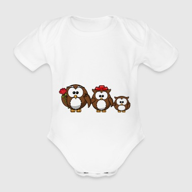 Owl family for great partner look - Organic Short-sleeved Baby Bodysuit