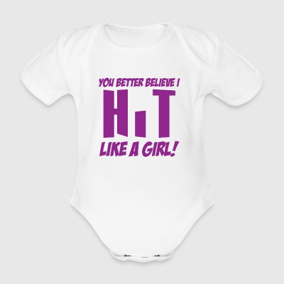 Volleyball hit like a girl - Organic Short-sleeved Baby Bodysuit