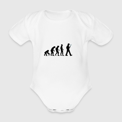 Evolution detective with magnifying glass - Organic Short-sleeved Baby Bodysuit