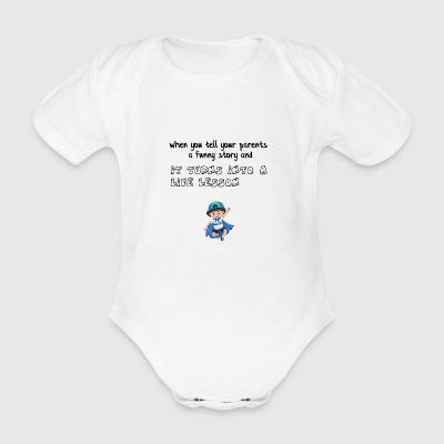 Funny story for my parents - Organic Short-sleeved Baby Bodysuit