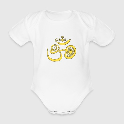 Symbol of Buddhist OM with sun - Organic Short-sleeved Baby Bodysuit