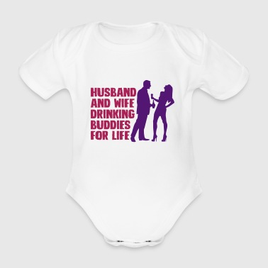 Husband And Wife Drinking - Organic Short-sleeved Baby Bodysuit