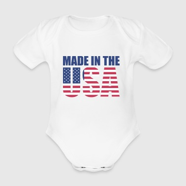 USA America Flag Stars and Stripes Made in USA - Baby bio-rompertje met korte mouwen