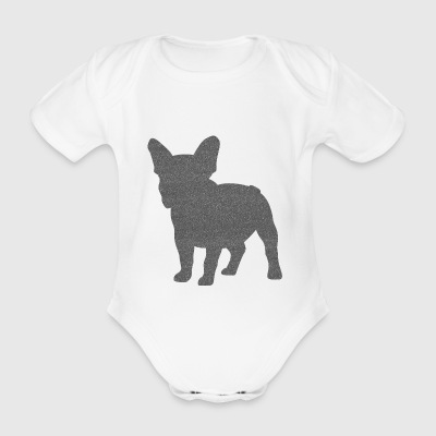 Frenchie French Bulldog Glitzer-Optik - Baby Bio-Kurzarm-Body