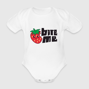 Frukt / frukt: Strawberry - Bite Me - Økologisk kortermet baby-body