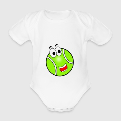 Happy Tennis Ball - Organic Short-sleeved Baby Bodysuit