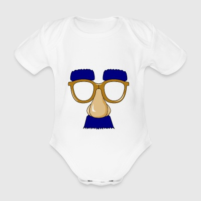 Glasses with mustache - Organic Short-sleeved Baby Bodysuit