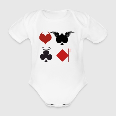 Poker Black Jack Ass Devil Devil Ange Carte Casino - Body bébé bio manches courtes