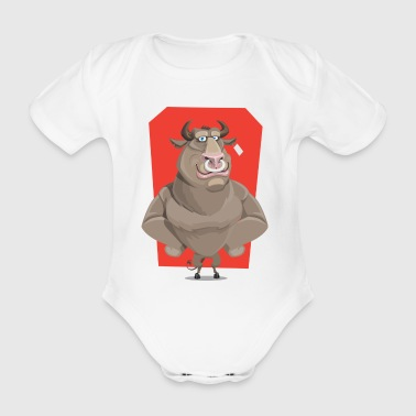 Bull with ring through the nose - Organic Short-sleeved Baby Bodysuit