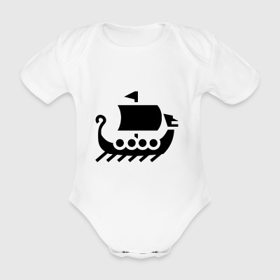 vikings wickinger warrior vikingboat boot39 - Organic Short-sleeved Baby Bodysuit