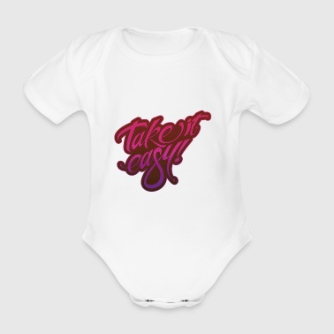 Take it easy pink purple - Organic Short-sleeved Baby Bodysuit