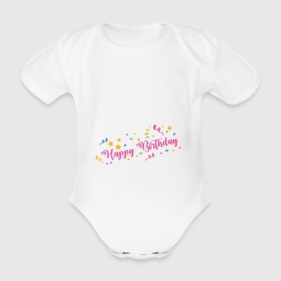 Happy Birthday - Organic Short-sleeved Baby Bodysuit