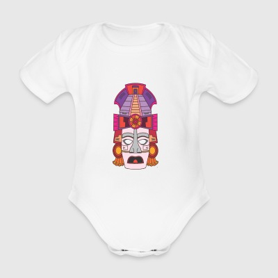 Mayan mask - Organic Short-sleeved Baby Bodysuit