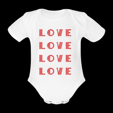 Love Love Love Love Shirt Gift Idea - Organic Short-sleeved Baby Bodysuit