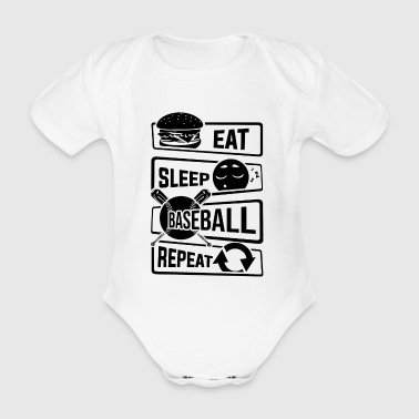 Eat Sleep Baseball Repeat - Home Run Strike Batter - Baby Bio-Kurzarm-Body