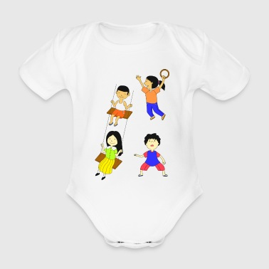 Children playing - Organic Short-sleeved Baby Bodysuit