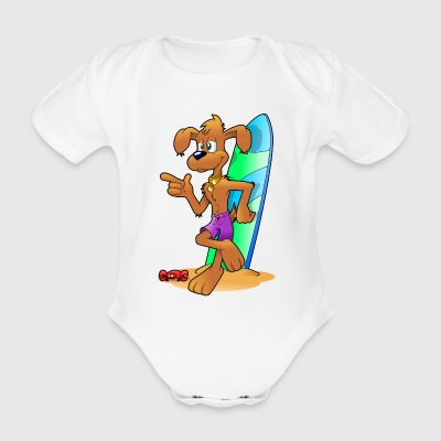 Kami le chien surfeur - Organic Short-sleeved Baby Bodysuit