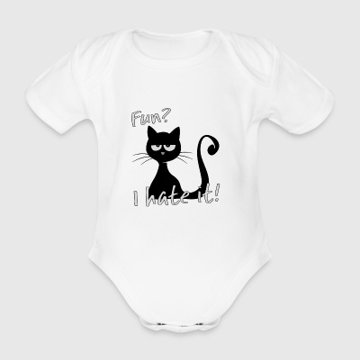 grumpy fun cat hates fun irony funny gift - Organic Short-sleeved Baby Bodysuit