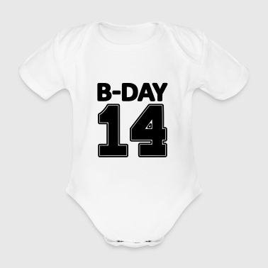 14 number fourteen / birthday number number jersey - Organic Short-sleeved Baby Bodysuit