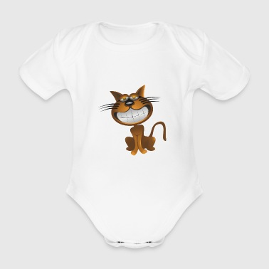 cat - Organic Short-sleeved Baby Bodysuit
