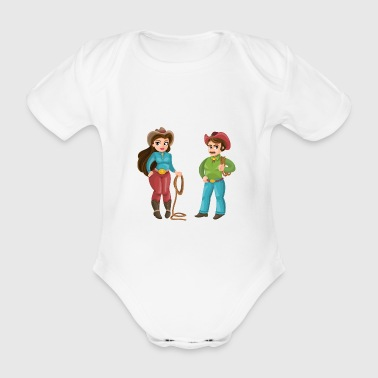 Western Couple - Organic Short-sleeved Baby Bodysuit
