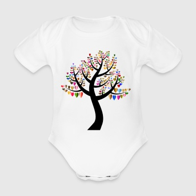 Heart tree - Organic Short-sleeved Baby Bodysuit