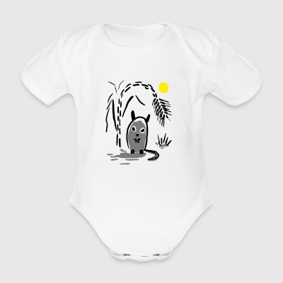 Rat under palm tree - Organic Short-sleeved Baby Bodysuit