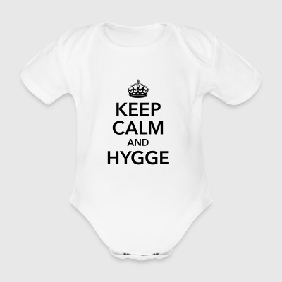 keep calm and hygge happiness happy positive - Organic Short-sleeved Baby Bodysuit