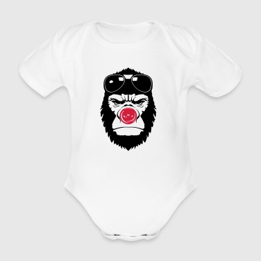 gorilla clown nose humor funny sunglasses 2 - Organic Short-sleeved Baby Bodysuit