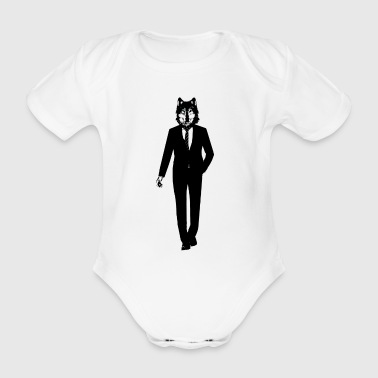 Wolf in a suit - Organic Short-sleeved Baby Bodysuit