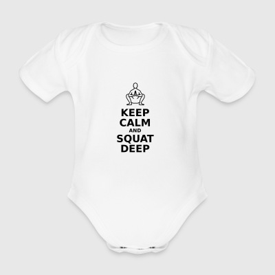 Keep calm and squat deep - Organic Short-sleeved Baby Bodysuit