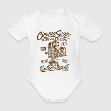 CINEMASCOPE - Cinema and Camera Shirt Motif - Organic Short-sleeved Baby Bodysuit