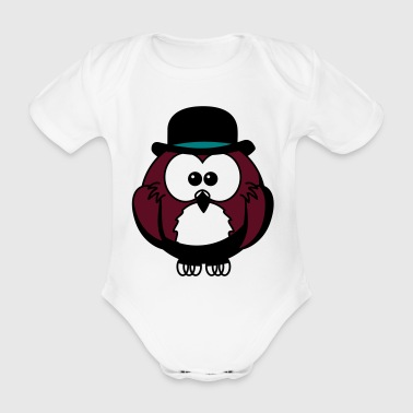 Owl with hat cylinder gentleman - Organic Short-sleeved Baby Bodysuit