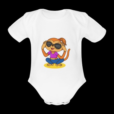 trendy gift idea monkey girl with sunglasses - Organic Short-sleeved Baby Bodysuit