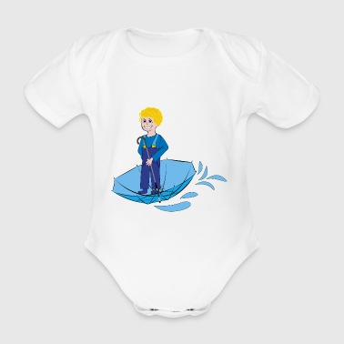 child with umbrella, funny drawings - Organic Short-sleeved Baby Bodysuit