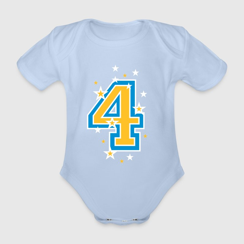 The number 4 and Stars - Organic Short-sleeved Baby Bodysuit